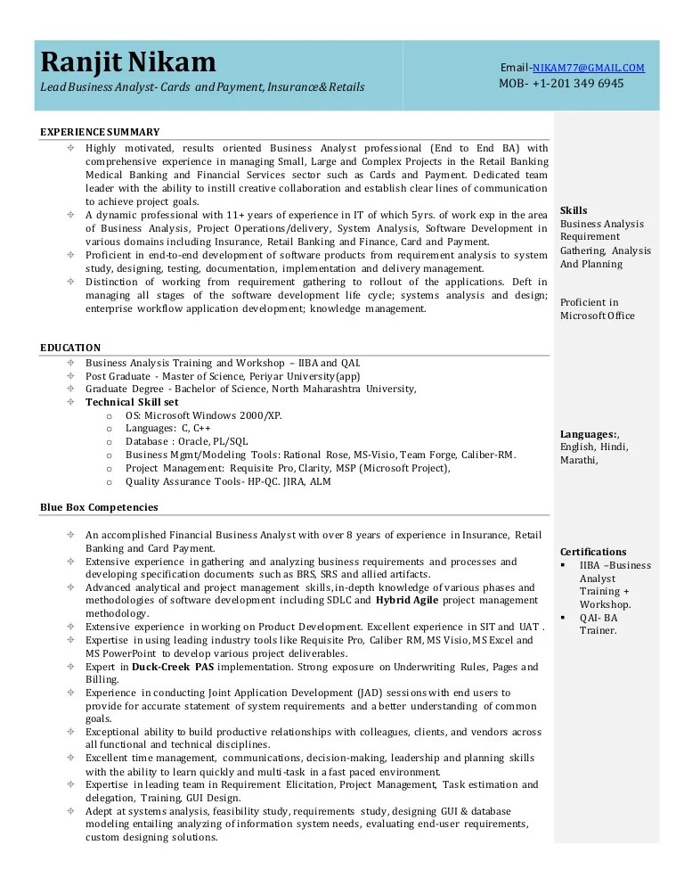 sample resume for business analyst profile