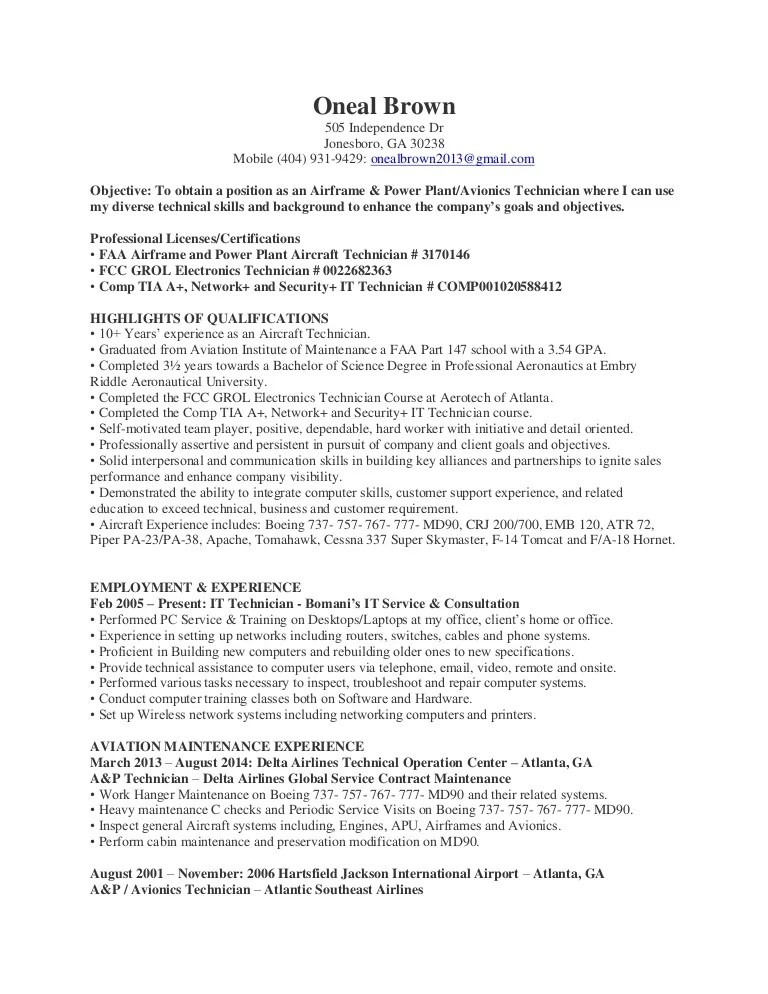 Oneal Brown AP and Avionics Technician Resume
