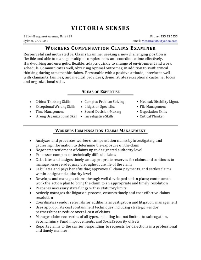 Resume Sample Workers Compensation Claims