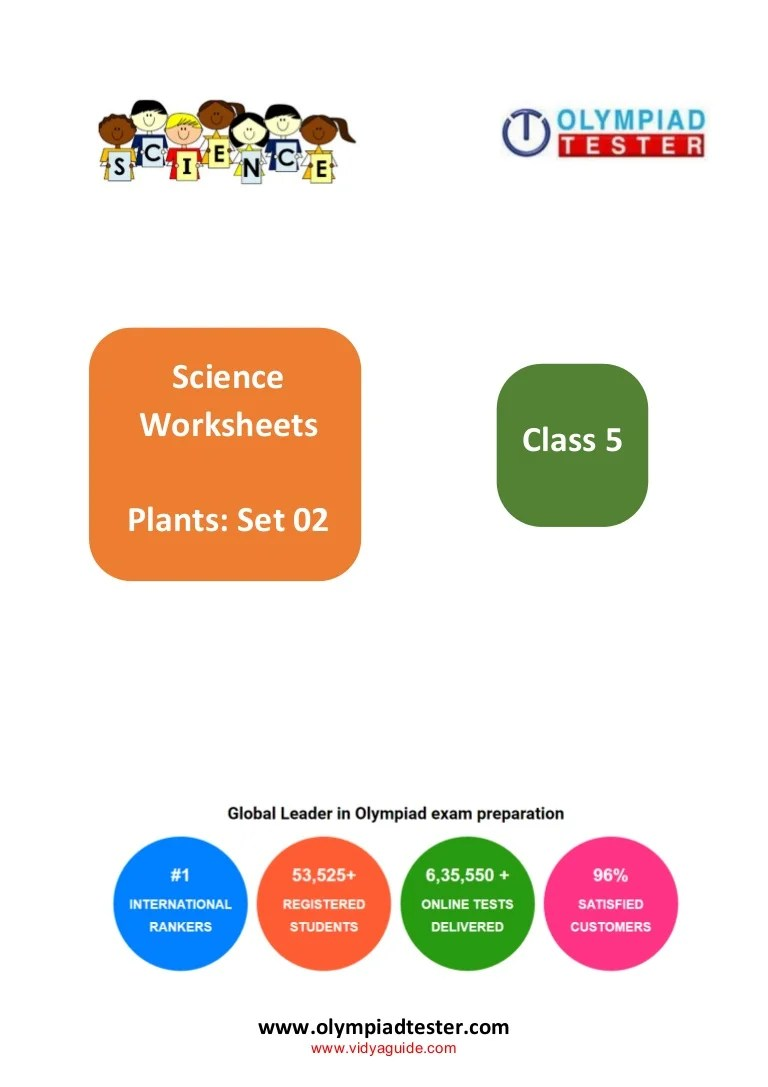 Class 5 Science Olympiad Sample paper on plants - Set 02 [ 1087 x 768 Pixel ]