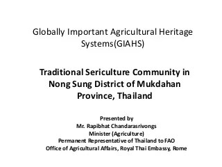Traditional Sericulture Community in Nong Sung District of Mukdahan Province, Thailand