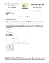 Experience Certificate for YANSAB Saudi Arabia