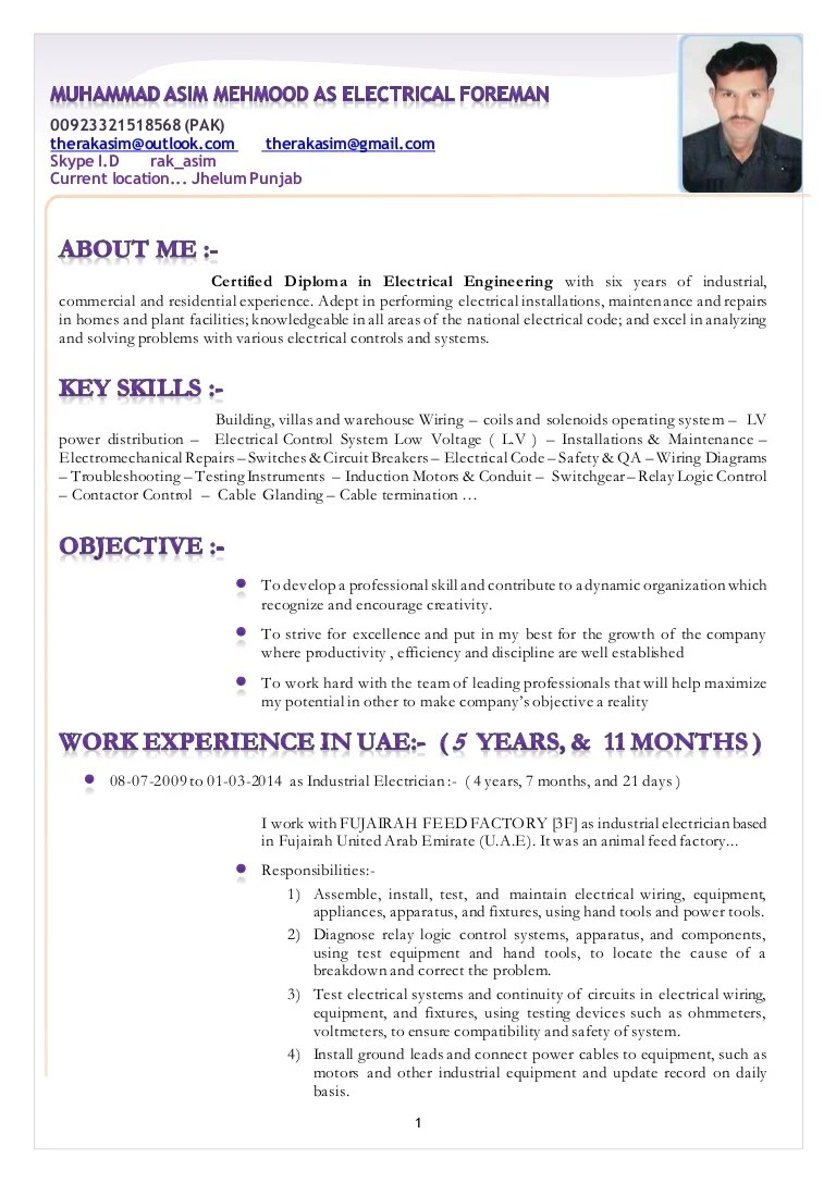 Electrician Foreman Resume Resume Muhammad Asim Mehmood As Electrical Foreman