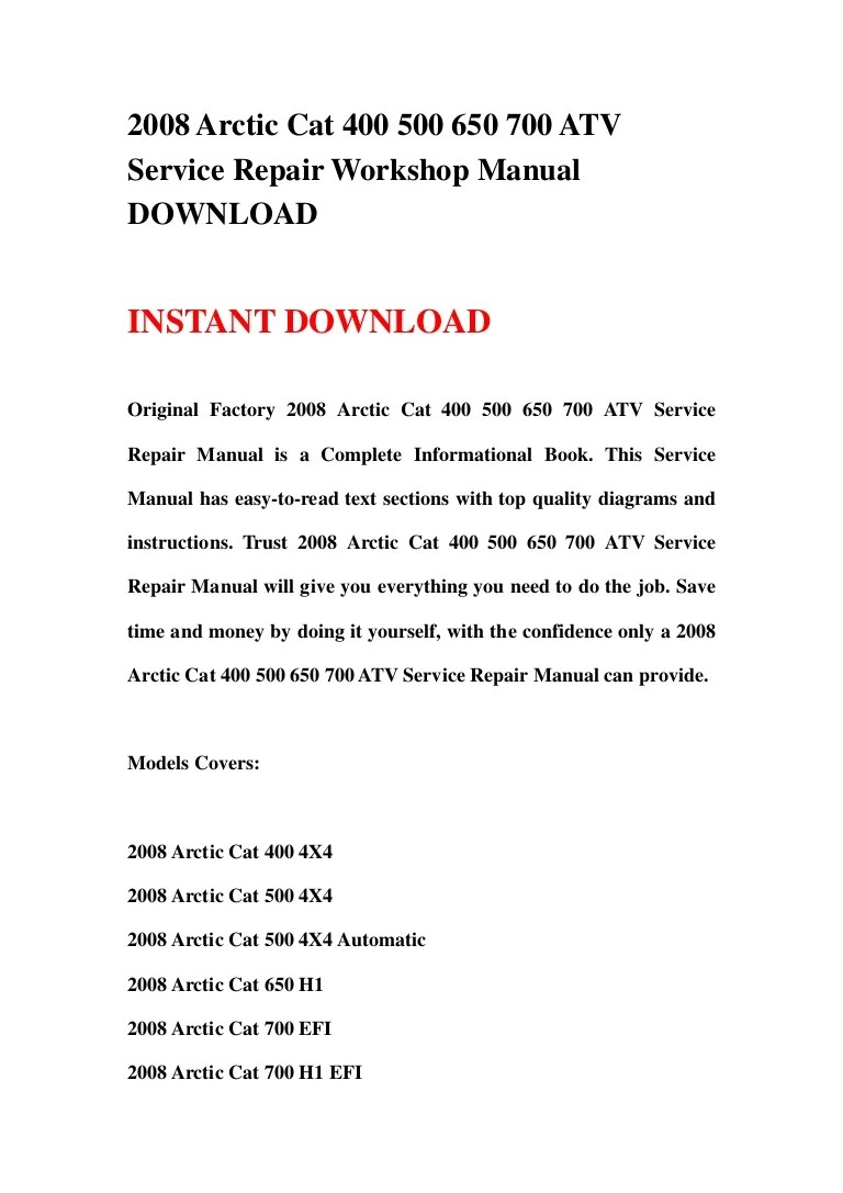 small resolution of 2008 arctic cat 400 500 650 700 atv service repair workshop manual do wiring schematic