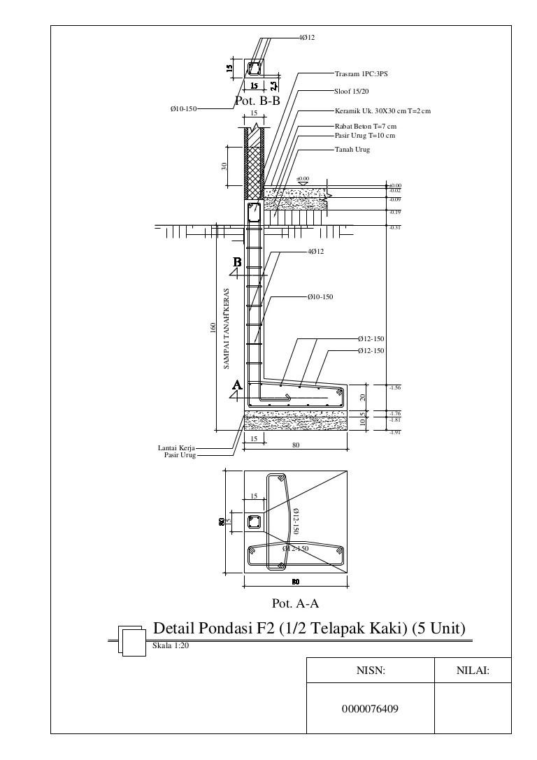 Detail Pondasi Telapak : detail, pondasi, telapak, Detail, Pondasi, (setengah, Telapak, Kaki)