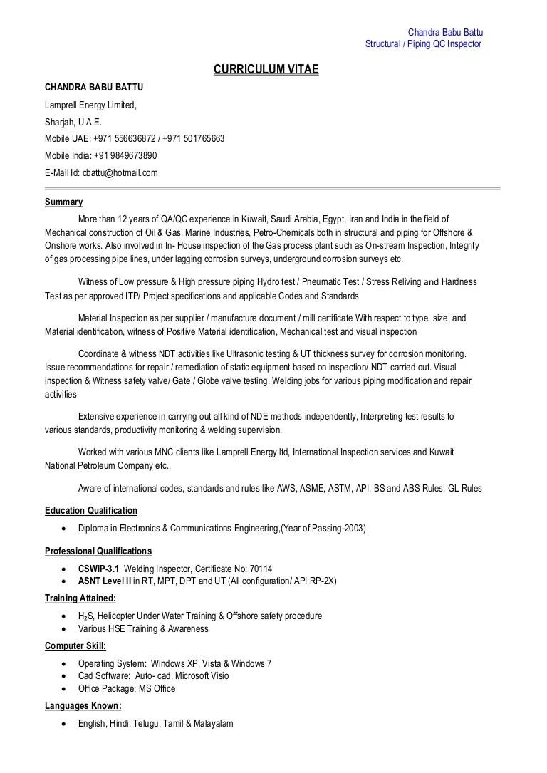 Structural & Piping QC Inspector CV PDF