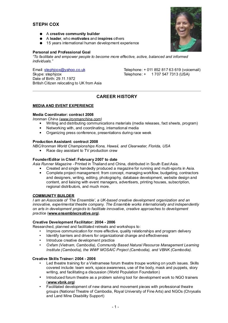 Steph Cox CV Resume Dec 2008