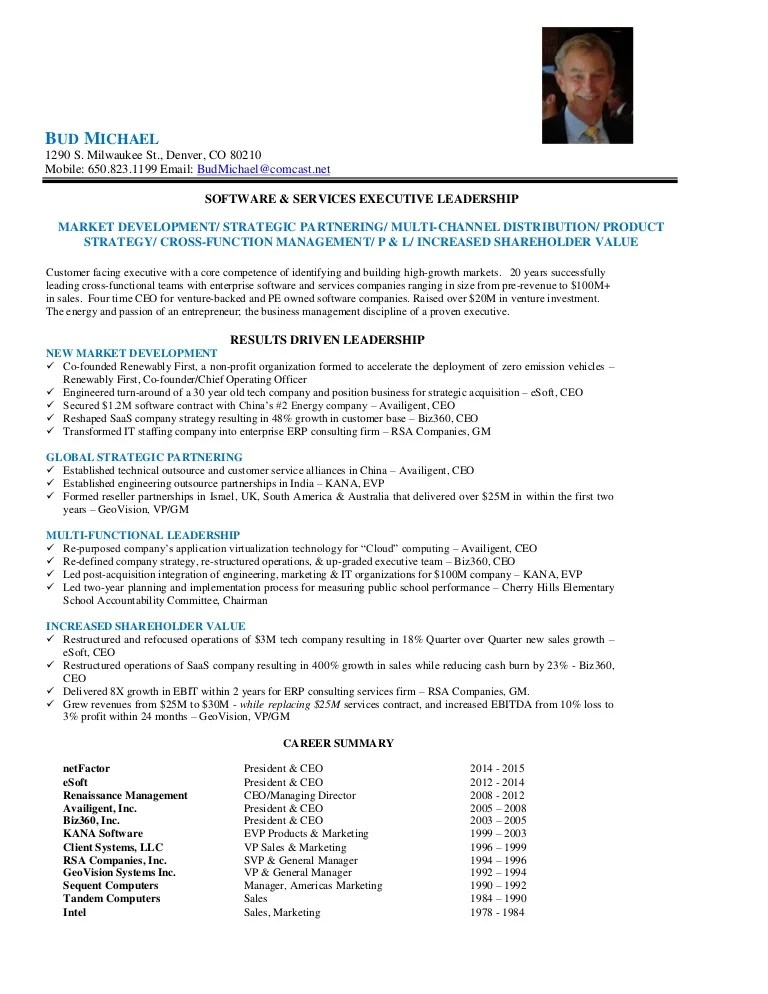 Bud Michael Executive Profile Brief