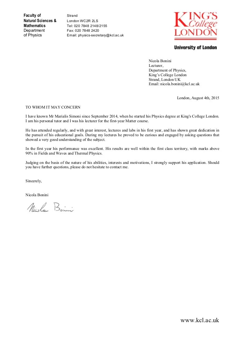 refence letter