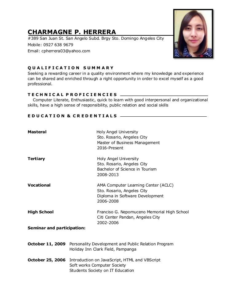 sample sa paggawa ng resume