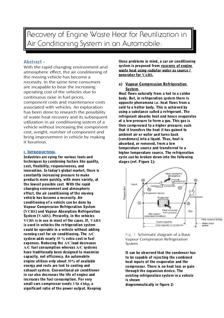 recovery of engine waste heat for reutilization in air conditioning system in an automobile [ 768 x 1087 Pixel ]