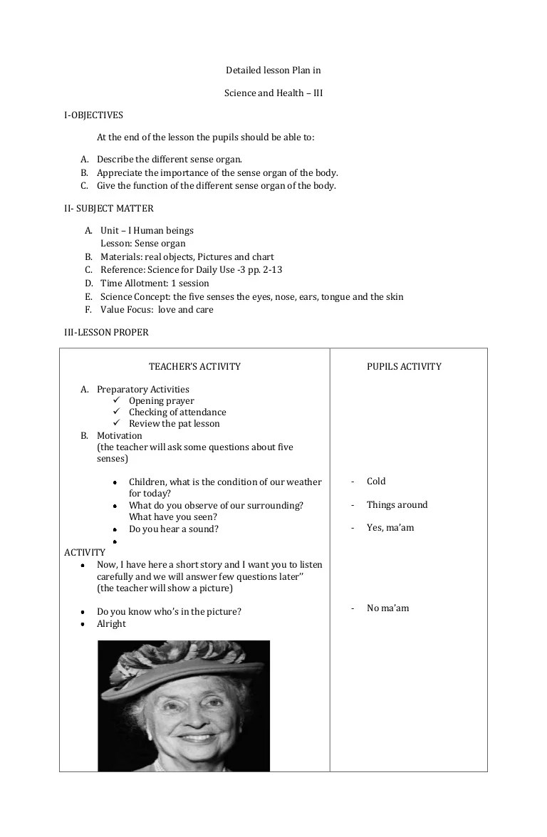 hight resolution of sample lesson plan in science five senses