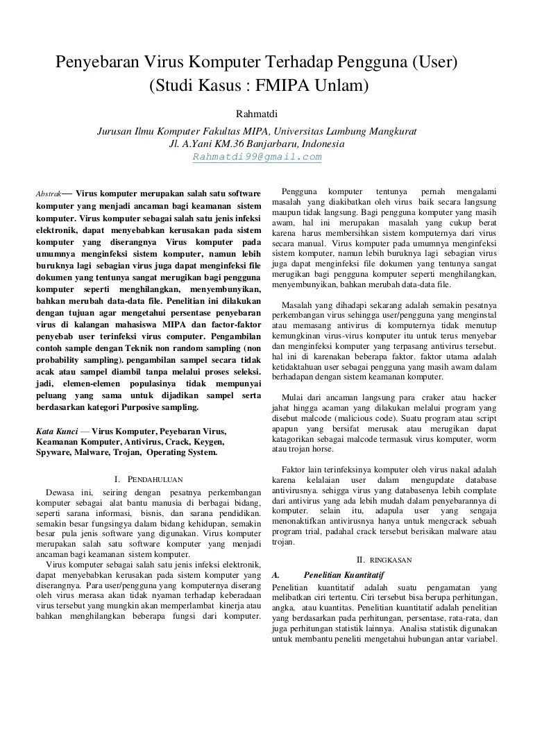 Abstrak penyebaran virus kompute