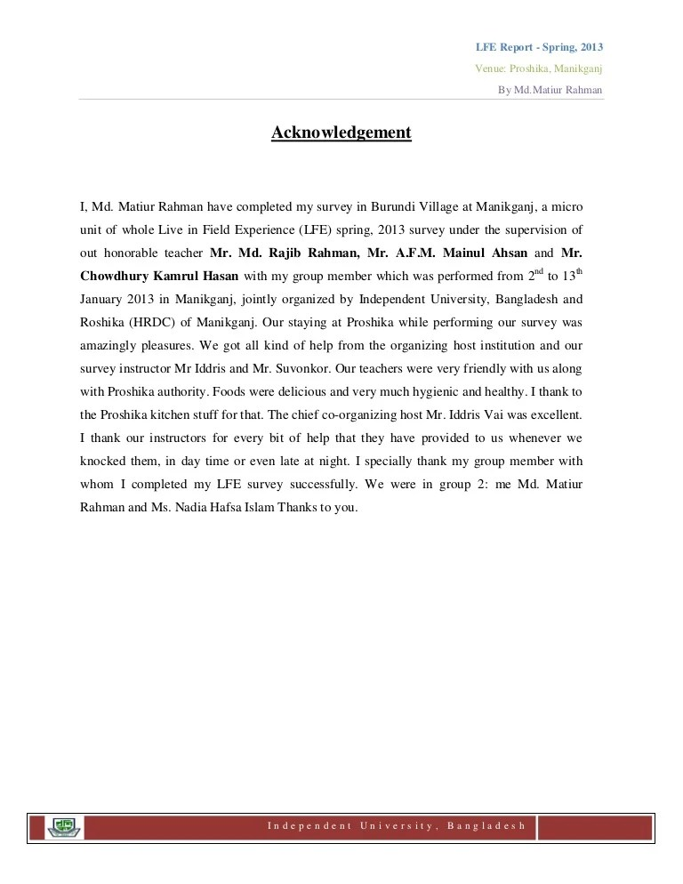 Live In Field Experience LFE Final Report's Acknowledgement