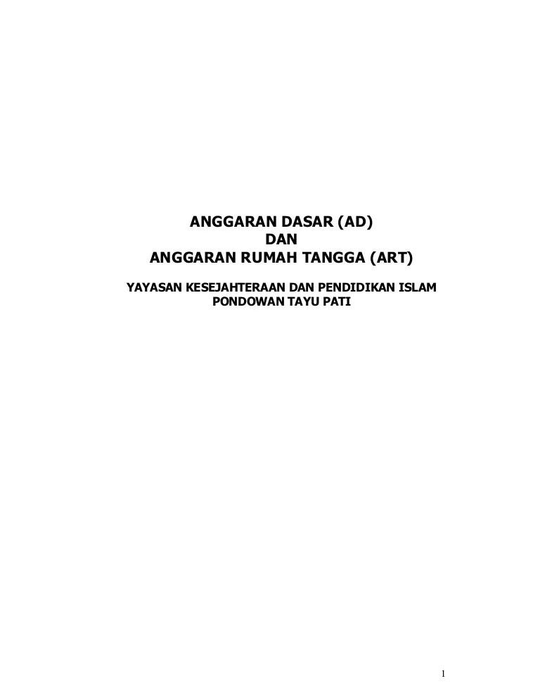 Contoh Angaran Dasar dan Anggaran Rumah Tangga (AD/ART