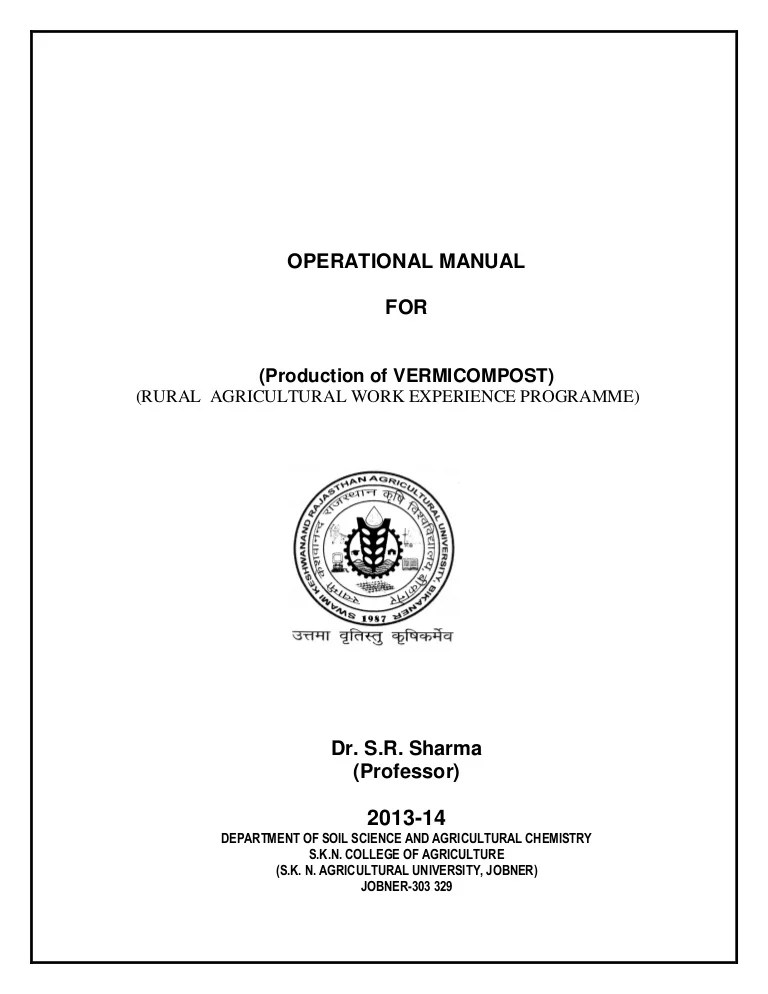 also operational manual for production of vermicompost rh slideshare