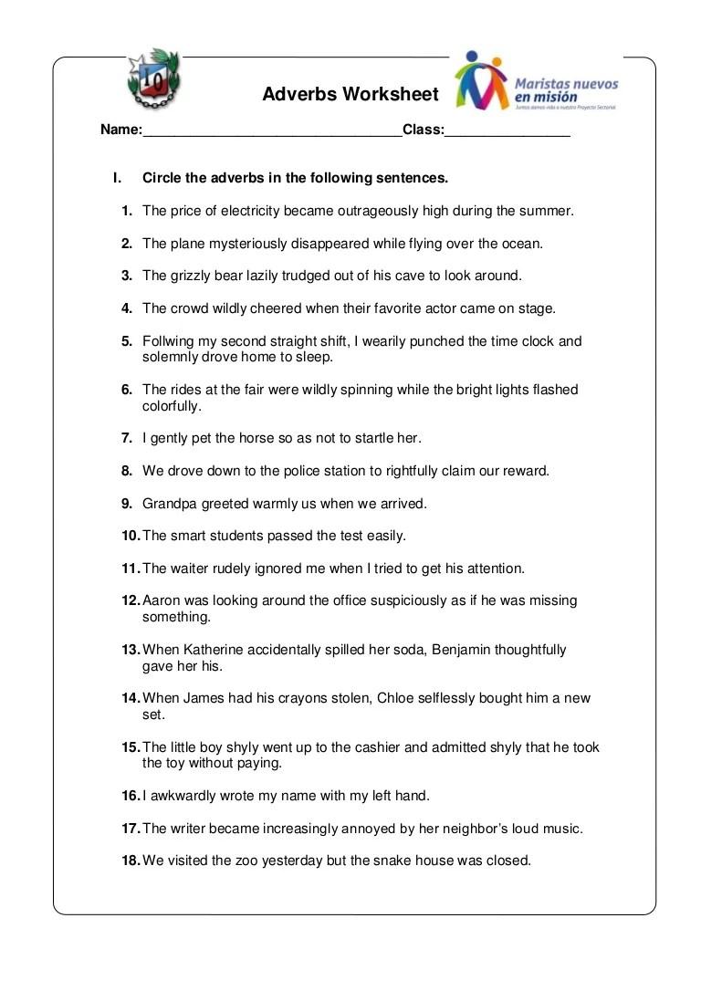 medium resolution of Adverbs worksheet