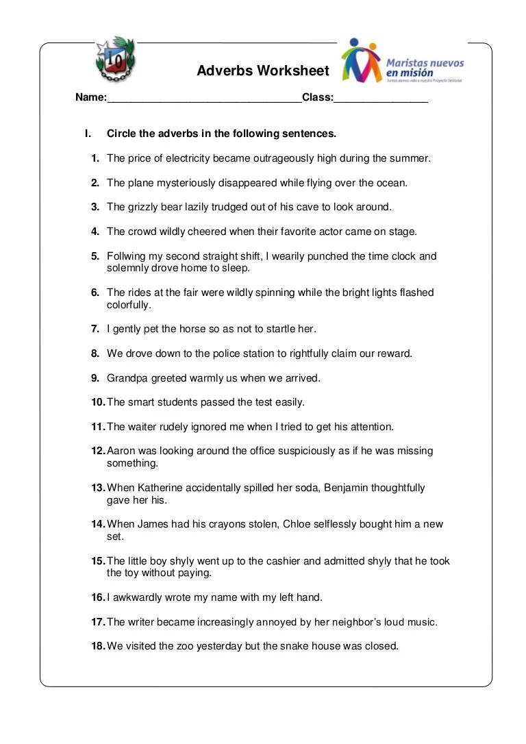 small resolution of Adverbs worksheet