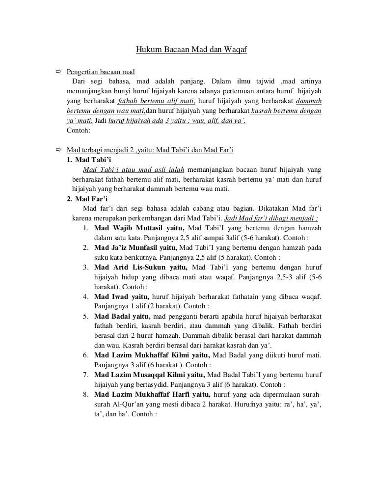 Pengertian Mad Dan Waqaf : pengertian, waqaf, Agama, Islam, Bacaan, Waqaf