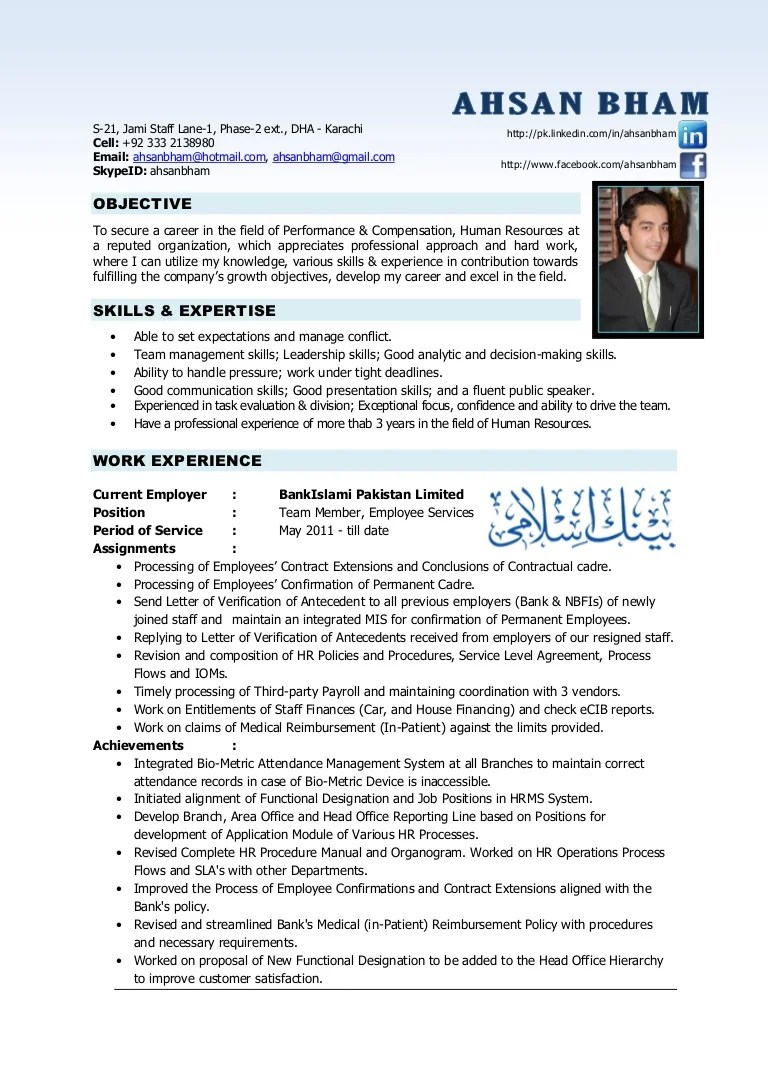 resume format for experienced hr professionals