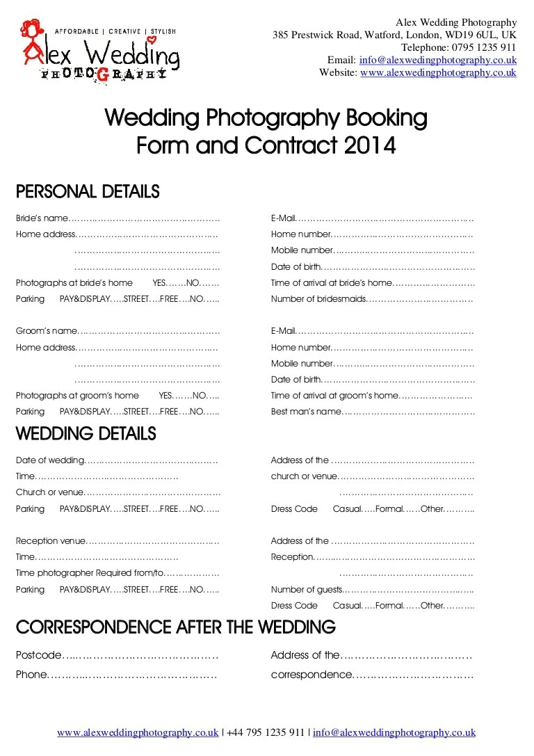 Wedding Photography Booking Form And Contract 2014