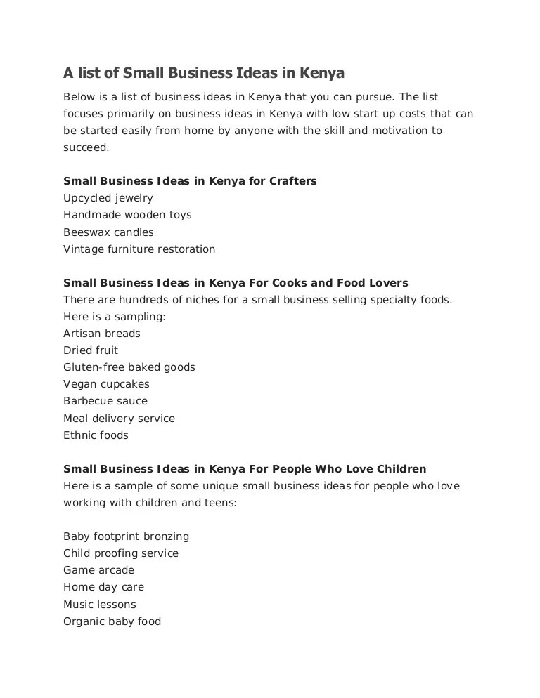 A List Of Small Business Ideas In Kenya