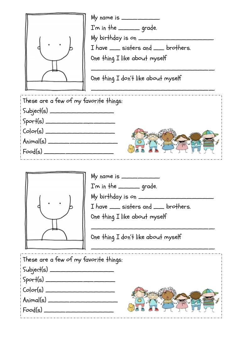All about me worksheet [ 1087 x 768 Pixel ]