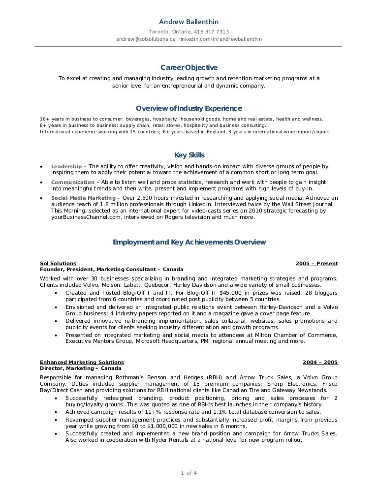 andrew ballenthin marketing u0026 social media resume