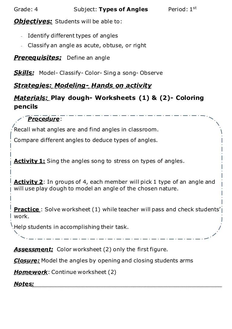 medium resolution of Angles lesson plan