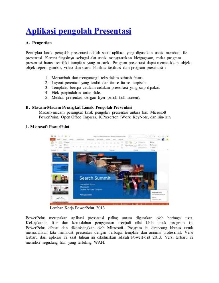 Fungsi Program Presentasi : fungsi, program, presentasi, Aplikasi, Pengolah, Presentasi