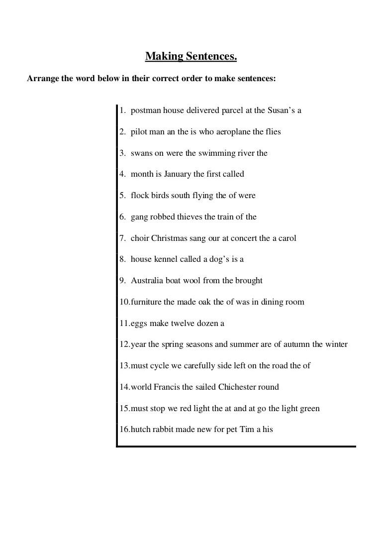 hight resolution of Arrange the jumbled sentences