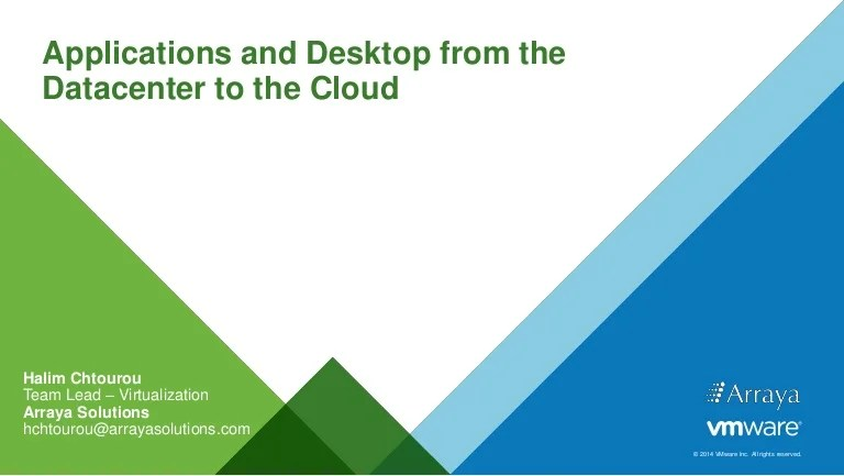 Applications And Desktop From The Data Center To The Cloud