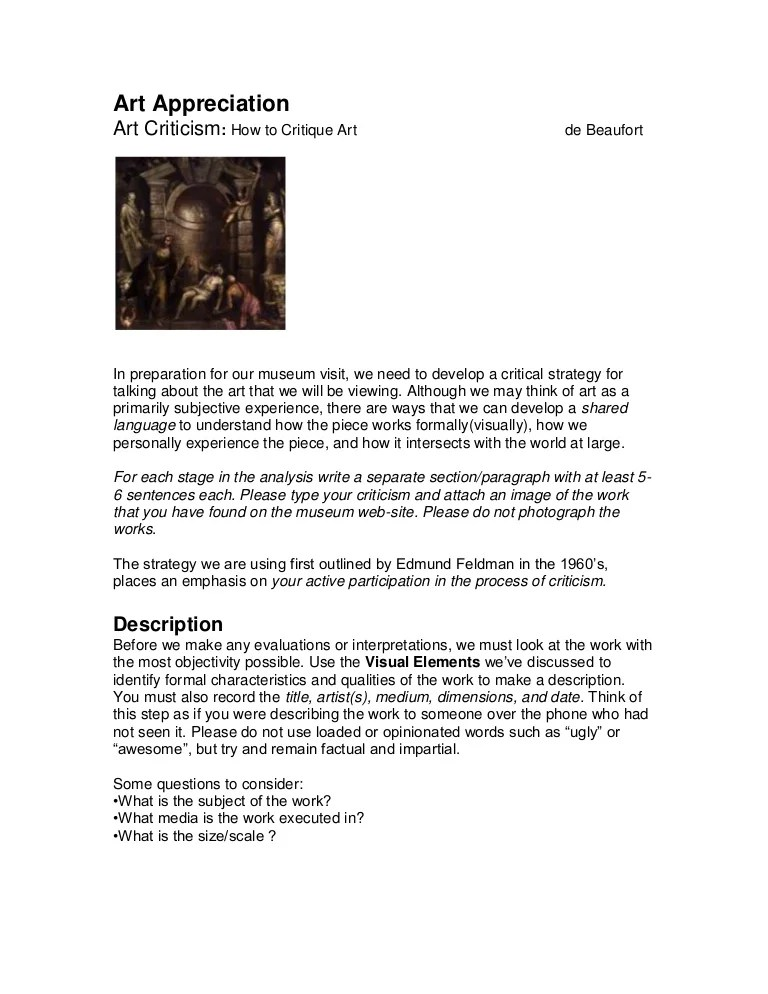 Art Essay Example Art Criticism Instructions Band 6 Visual Arts