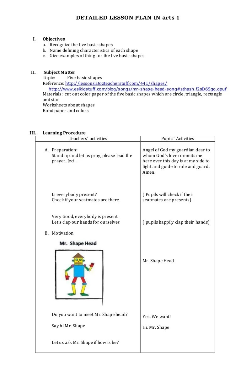 hight resolution of MAPEH arts lesson plan for grade 1-2