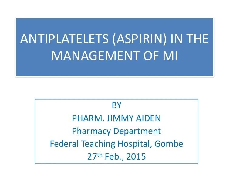 Aspirin in Myocardial Infarction by Pharm Jimmy Aiden