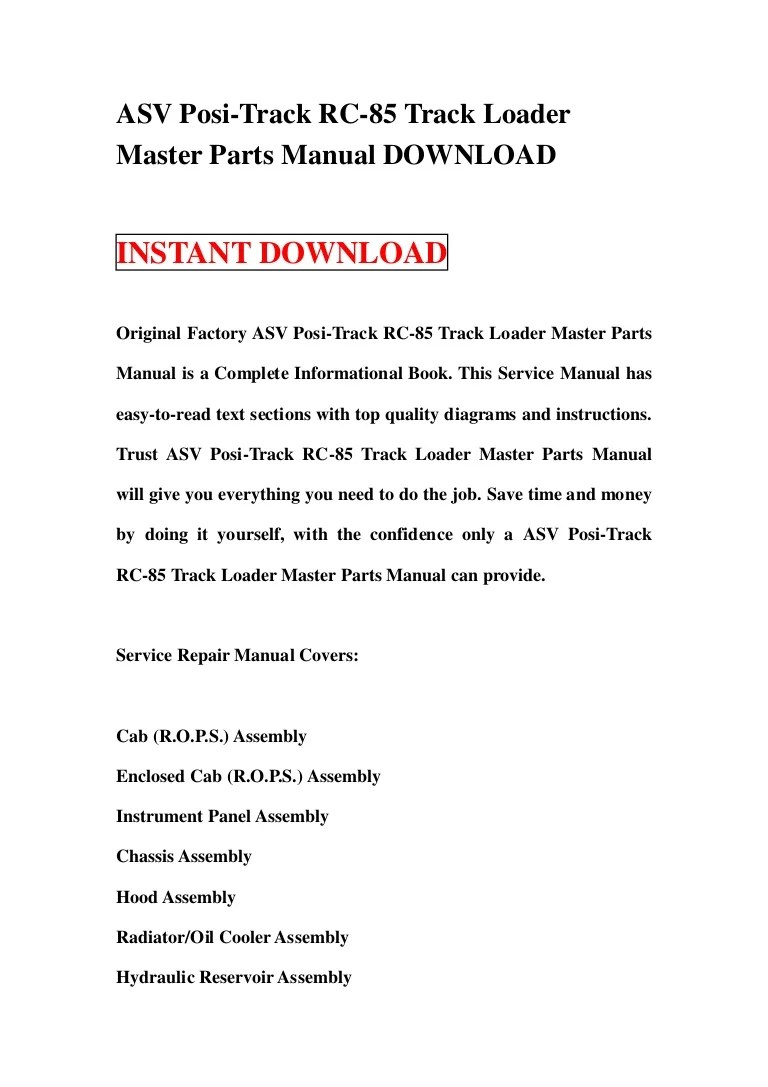 asv posi track rc 85 track loader master parts manual download rh slideshare net rc85 wiring diagram air conditioner  [ 768 x 1087 Pixel ]