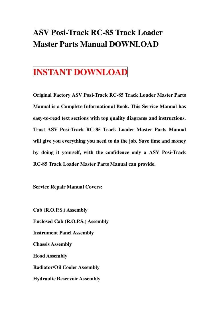 hight resolution of asv posi track rc 85 track loader master parts manual download rh slideshare net rc85 wiring diagram