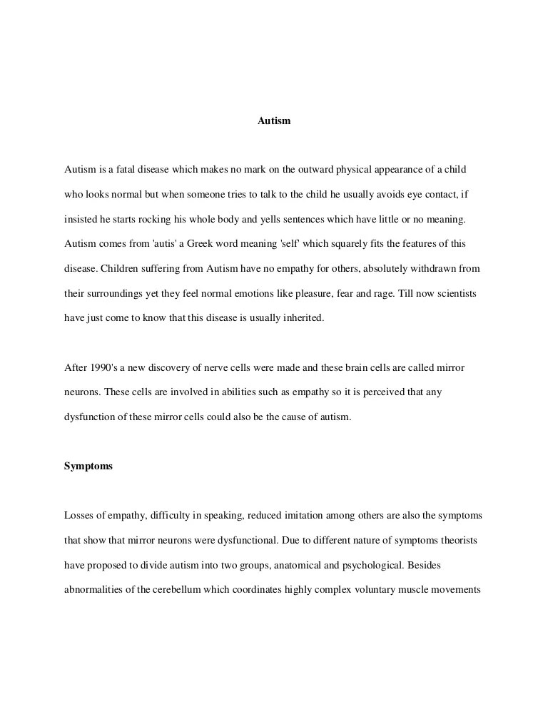 Essay On Autism Essay About Autism Co Thesis Statement Autism Essay