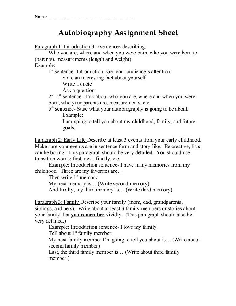 Autobiography Assignment Sheet