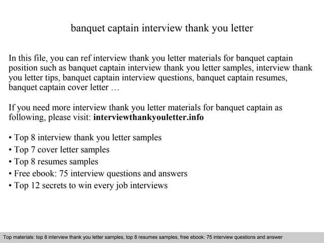 Banquet captain cover letter