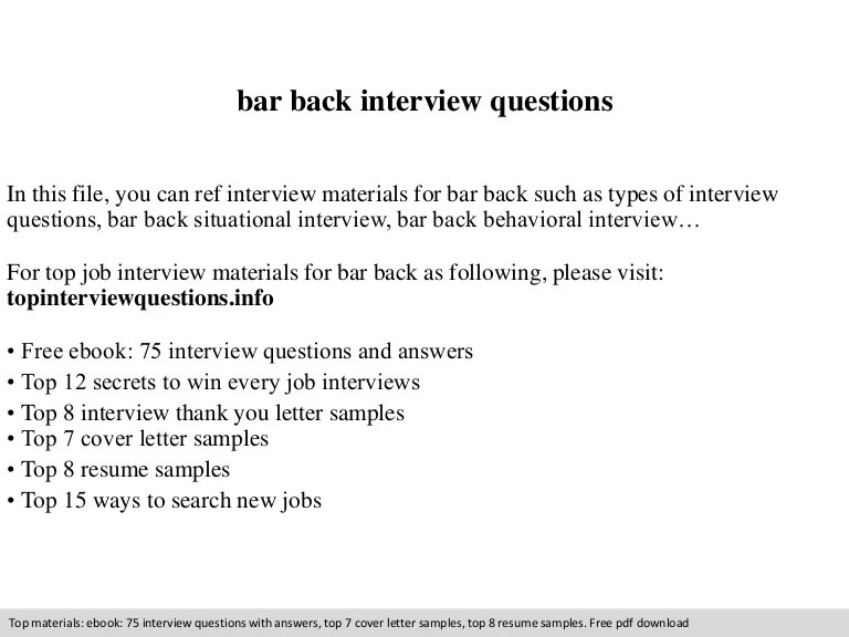 Bar Back Interview Questions