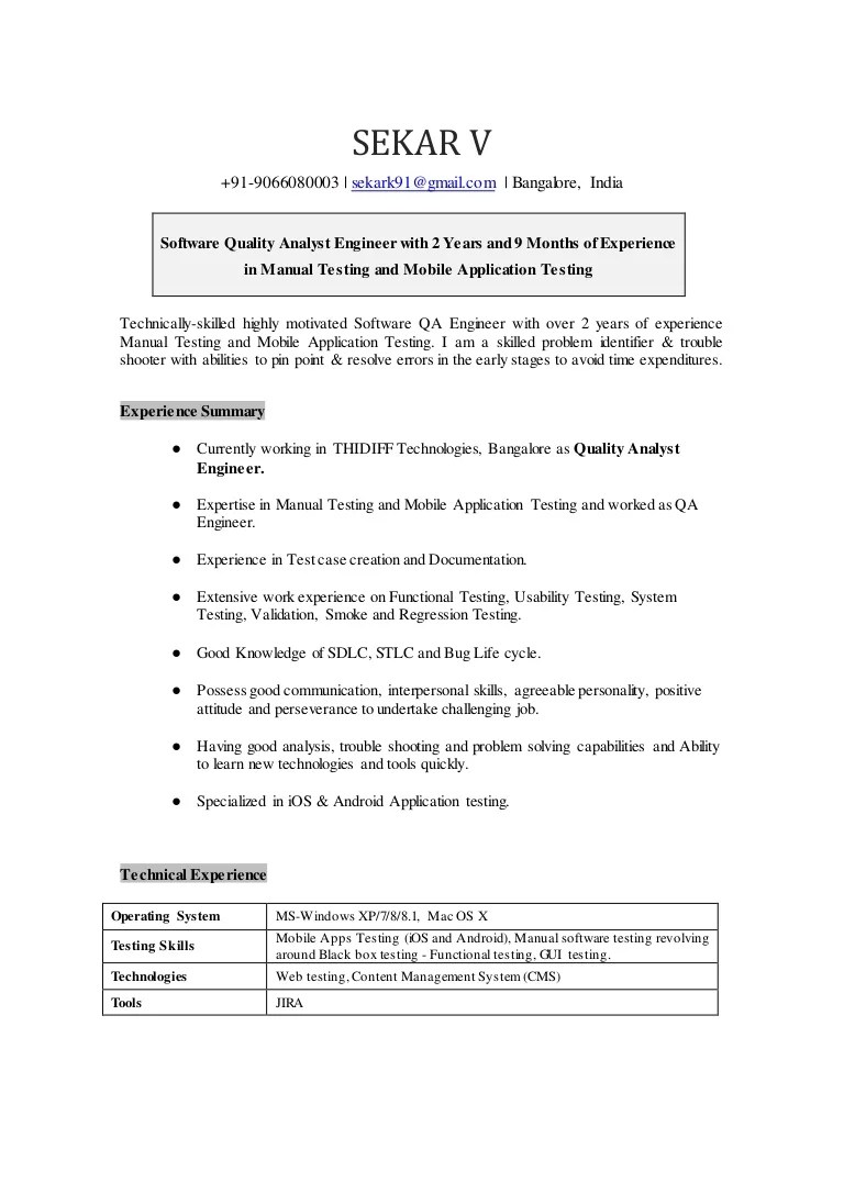 Qa Analyst Cover Letter Sekar Quality Analyst Resume Doc