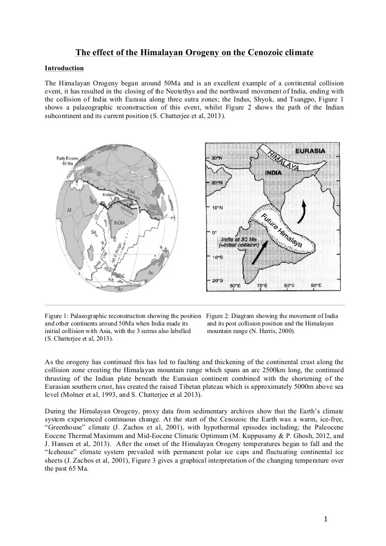 hight resolution of the effect of the himalayan orogeny on the cenozoic climate j standing 2014
