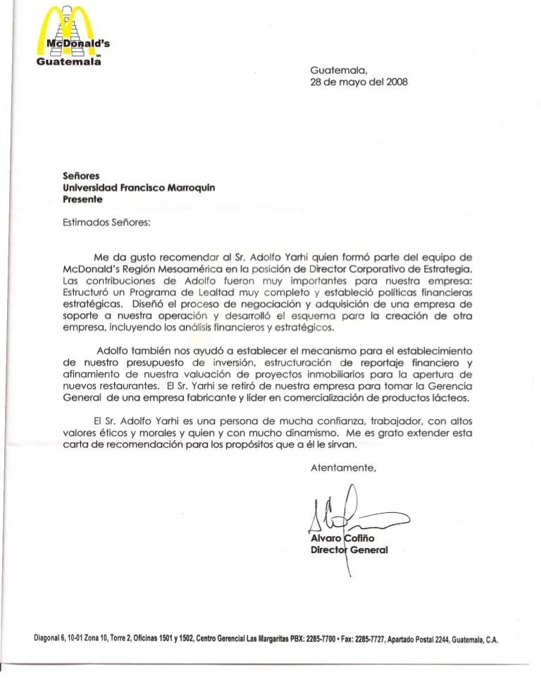 Carta de Recomendacin 20080528 MCDONALDS