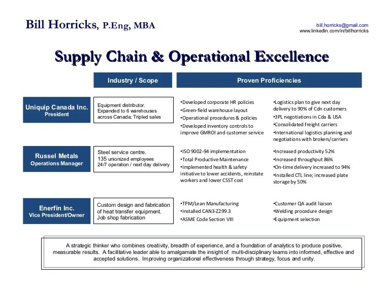 Operational Excellence & Supply Chain