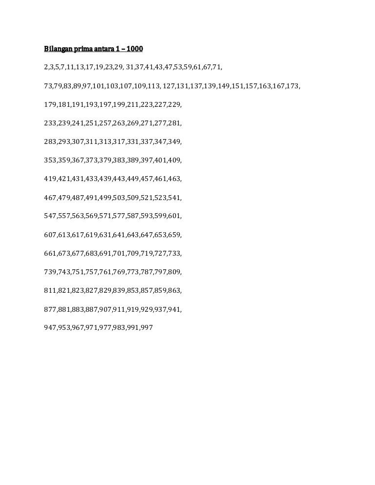 Bilangan Prima 1-1000 : bilangan, prima, 1-1000, Bilangan, Prima, Antara