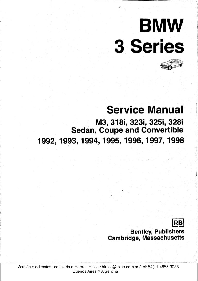 medium resolution of bmw 3 e36 series workshop manual bentley publishers 1998 bmw wiring diagrams