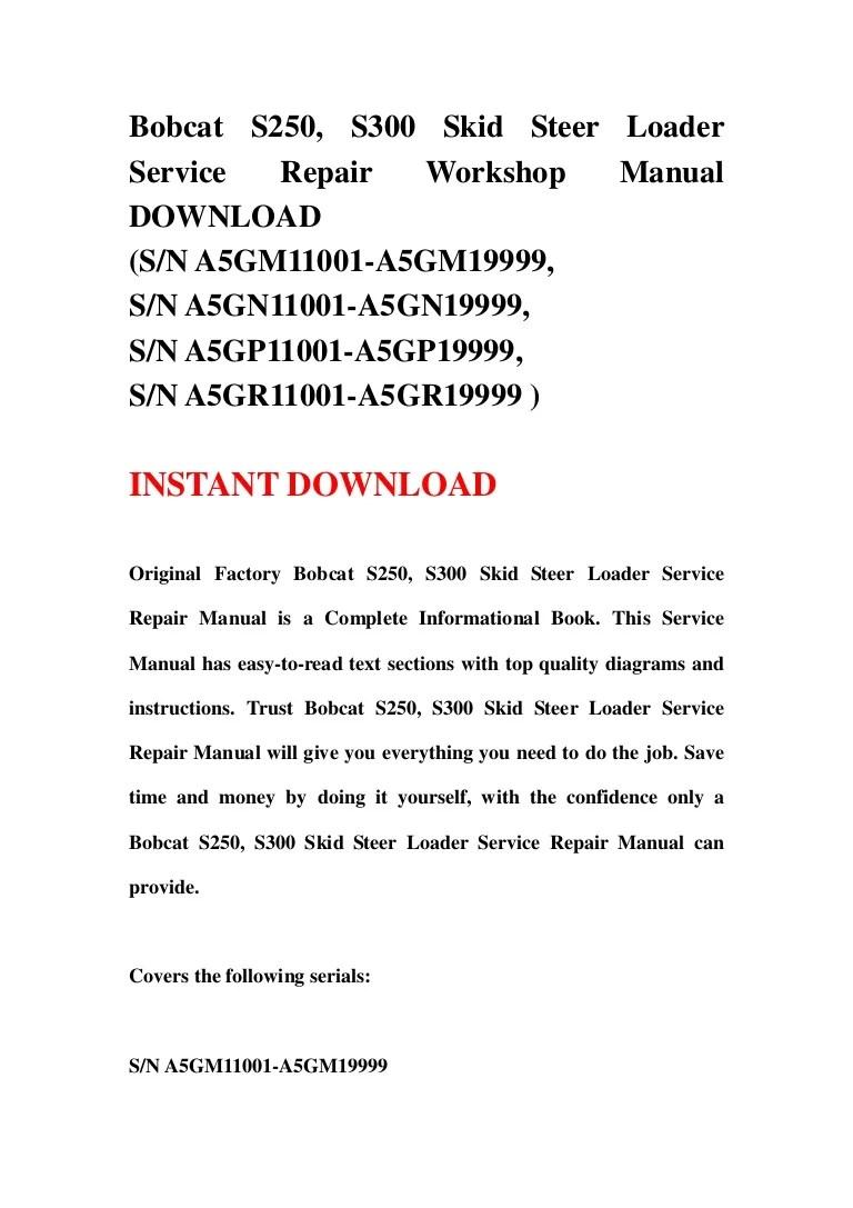 bobcat s250 s300 skid steer loader service repair workshop manual download [ 768 x 1087 Pixel ]