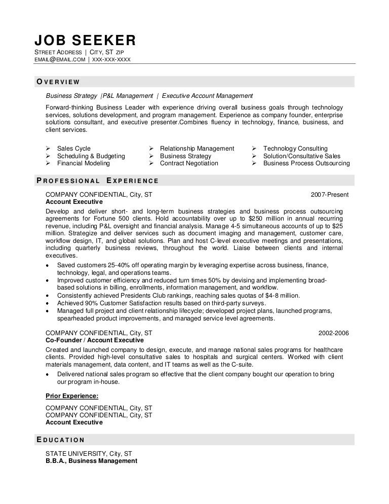 sample overview for resume