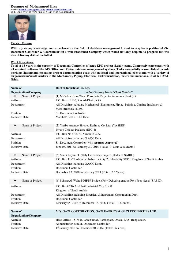 Resume of Mohammed IliasSr Document Controller